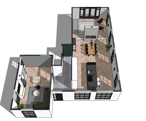 Plattegrond en ontwerp voor renovatie woning Nuenen